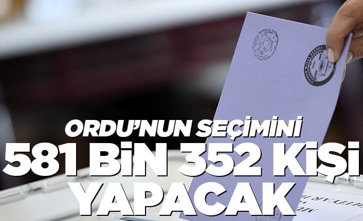 Ordu'nun seçimini 581 bin 352 kişi yapacak