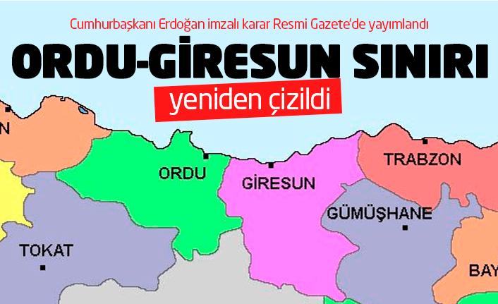 Ordu-Giresun sınırı yeniden çizildi