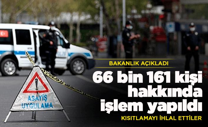 66 bin 161 kişi hakkında işlem yapıldı