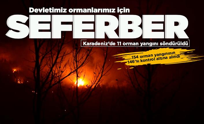 Karadeniz'de 11 orman yangını söndürüldü