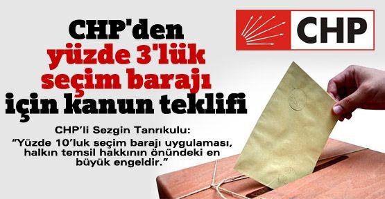 CHP'den 'yüzde 3'lük seçim barajı' için kanun teklifi