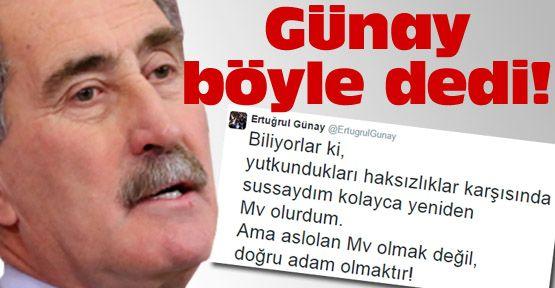 Eski Bakan Günay'dan sitemkar twit!