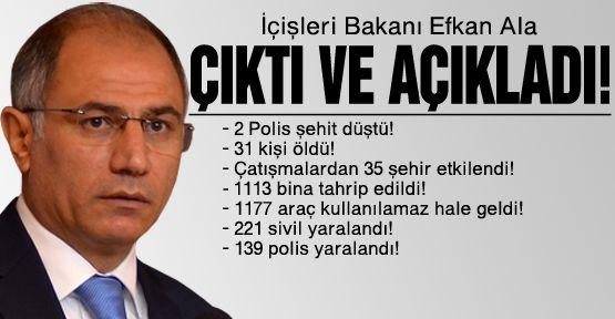 İçişleri Bakanı Ala bilançoyu açıkladı!