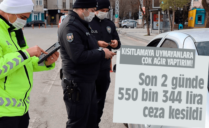 Ordu'da 550 bin 344 lira ceza kesildi!