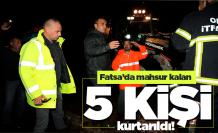 Fatsa'da mahsur kalan 5 kişi kurtarıldı