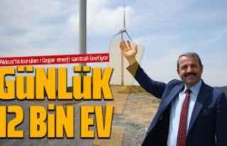Günlük 12 bin evin elektrik ihtiyacını karşılıyor