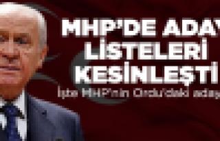 MHP'de listeler kesinleşti