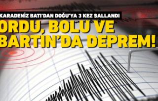 Ordu, Bolu ve Bartın'da deprem oldu!